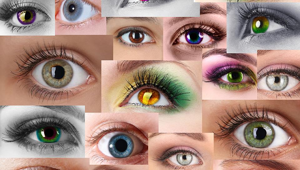Kontaktna sočiva u boji različitih boja