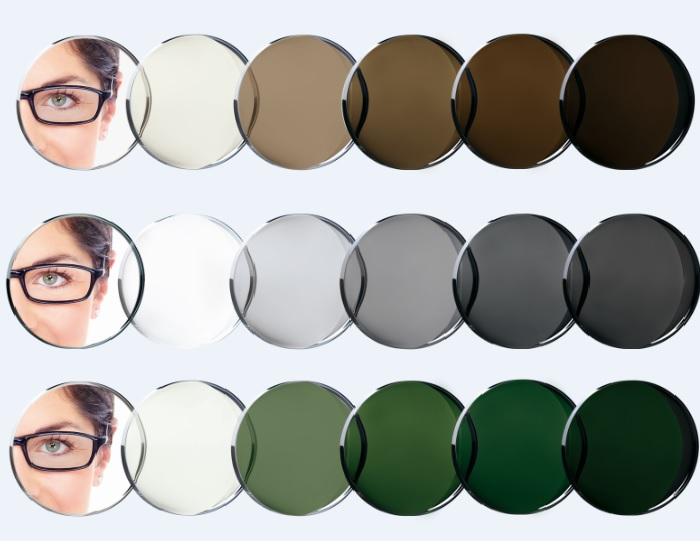 Foto gray stakla koja poseive, Foto brown koja postanu braon i Foto green stakla koja postanu zelena na suncu